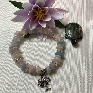 Beautiful Beryl gemstone bracelet elastic charm